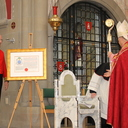 Bishop John Keenan on receiving Letters Patent granting a coat of arms under royal prerogative. photo album thumbnail 23